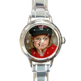 Personalised Italian Charm Ladies Photo Watch Round